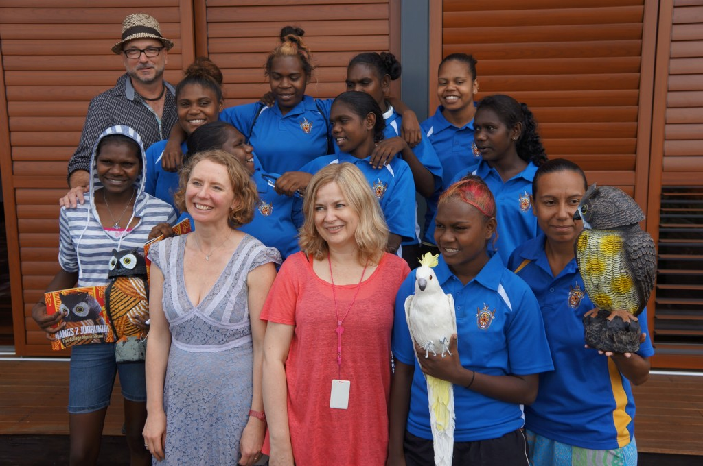 The Tiwi College students, with Bangs (in both guises) and Cocky, along with John Danalis, our publisher Anna (front left) and next to her designer Lisa.