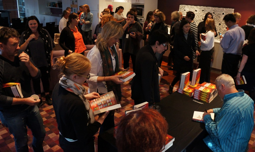 Our staff are big fans, so Michael had quite a few books to sign!