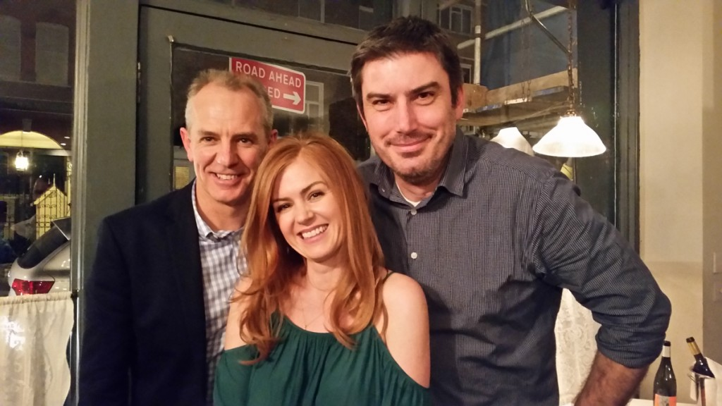 Isla Fisher along with our starstruck CEO Robert (left) and John Purcell of Booktopia (right) when they spotted her in a restaurant in London!